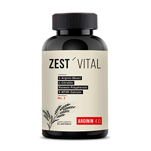 zest'vital Arginin 4.0: ZEST'VITAL: L-Arginin (Base), L-Citrullin, Rotwein-Polyphenole, 5-MTHF-Calcium u.v.a.m. 100% Vegan 240 Kapseln