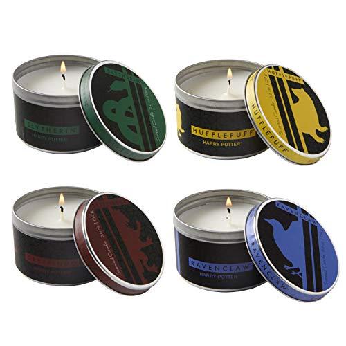Harry Potter Hogwarts Houses Tin Candles, Set of 4 - Large 5.6 oz Each - Gryffindor, Slytherin, Ravenclaw, Hufflepuff - Scented