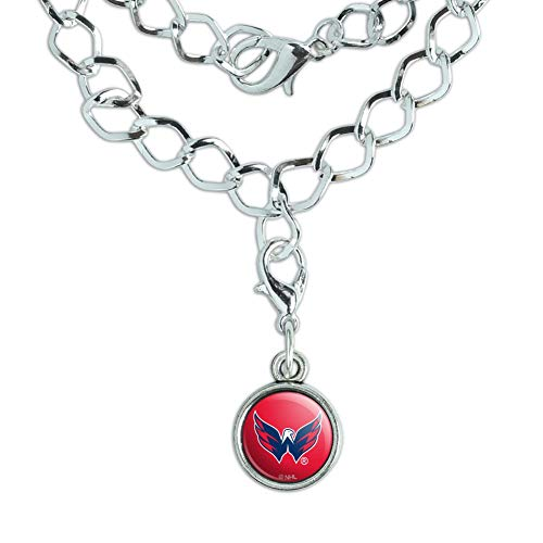 GRAPHICS & MORE NHL Washington Capitals Logo Silver Plated Bracelet with Antiqued Charm