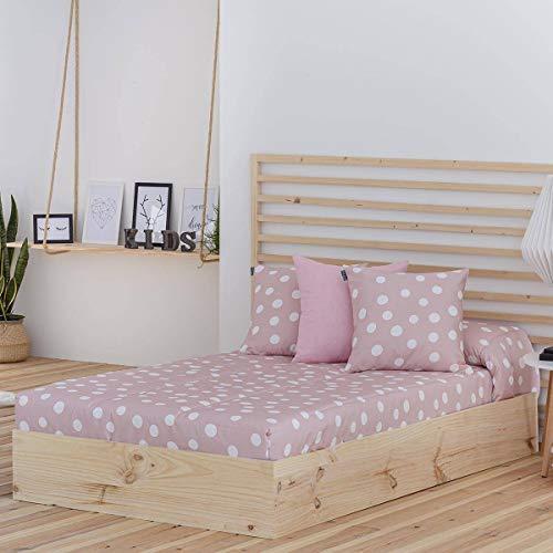 Confecciones Paula - Edredón Ajustable Topo - Cama 90 Cm - Color Rosa
