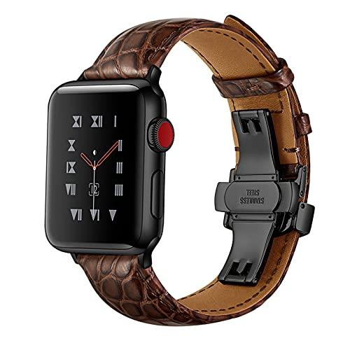 Correa Reloj para Apple Watch Series 1/2/3/4/5/6/SE, Compatibilidad iWatch 38mm 40mm/42mm 44mm con Hebilla de Acero Inoxidable, Cocodrilo Cuero Genuino Correa de Reloj,B,Brown,38mm/40mm