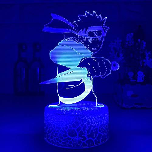 3D Nacht Lampe Illusion Lampe 3D-LED-Nachtlicht Japanische Anime Uzumaki mit Dolch Kinder Weihnachtslampen Schlafzimmer Dekor Weihnachtskind Spielzeug ZMSY