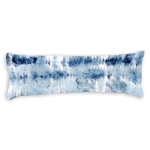 Modern Summer Navy Blue Tie Dye Watercolor Ultra Soft Microfiber Long Body Pillow Cover Pillowcases with Hidden Zipper Closure for Kids Adults Pregnant Women, 20  x 54