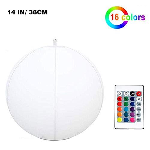 Generp Lichter Strandball - Solarlichter 16 Farbwechsel Aufblasbares LED-Nachtlicht , 12/14 Zoll Fernbedienung Solarballlicht IP68 Wasserdichtes Schwimmendes Poollicht