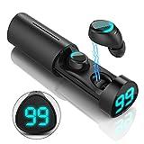 Bluetooth Kopfhörer,Berührungssteuerung Auto Pairing Lautstärkeregler Wireless Bluetooth 5.0 Ohrhörer LED Leistungsanzeige mit Mikrofon und Rauschunterdrückung,Sport Kopfhörer mit Tragbarem Ladekoffer