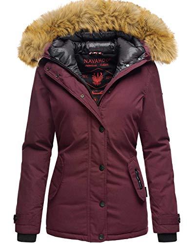 Navahoo warme Damen Winter Jacke Winterjacke Parka Mantel Kunstfell B392 [B392-Laura2-Weinrot-Gr.M]