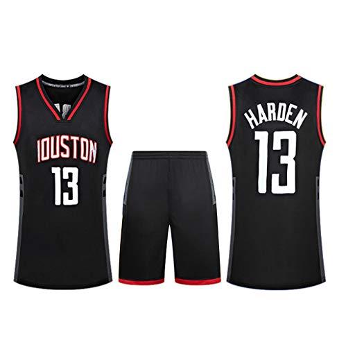 Verwendet für # 13 James Harden Houston Rockets Fans Basketball Trikots Kinder Teen Erwachsene Sportswear Shirt Weste + Top Sommer Shorts Männlich Weiblich T-Shirt-Black-S