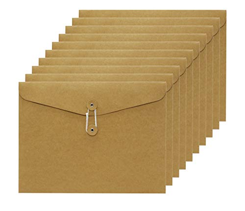 Smiling Art 10er Dokumententasche aus Pappe/Kraftpapier in A4 Format, Dokumentenmappe, Aktentasche, Aktenordner, Ordnungsmappe Ideal fürs Büro Schule Uni 31 x 24 cm