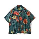 Ocuhiger Camisa Hawaiana para Hombre Casual Camisas De Playa Manga Corta Cuello De Solapa Botón Standard Shirt Vacaciones Unisex Niños Pintura Al Óleo Verde Naranja-S