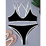 maozuzyy Bikinis Bañador Mujer Traje De Baño De Mujer Sexy Bikini De Mujer con Tanga Ropa De Playa-Negro_S