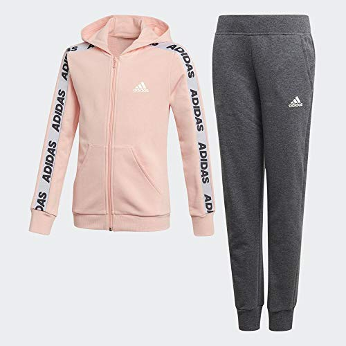 adidas Mädchen YG Hood COT TS Tracksuit, Glow pink/White,Grey Heather, 12-13Y