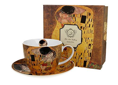 DUO Kollektion Art Gallery by Gustave Klimt THE KISS Jumbo Tasse und Untertasse aus New Bone China Porzellan im Geschenkbox, Kaffeetasse, TeeTasse, Füllmenge 470 ml