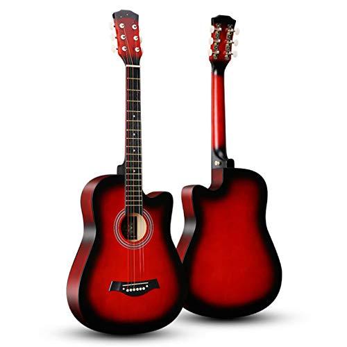 KEPOHK 38 pulgadas Guitarra Guitarra acústica 6 cuerdas Basewood Instrumentos musicales populares para principiantes Guitarra Estudiantes adultos 38 pulgadas rojo