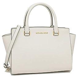 powerful Michael Kors Sel Masafiano Leather Bag with Medium Zip (Optic White)