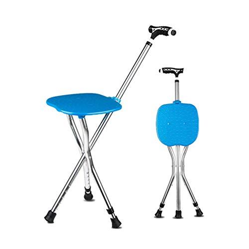 MOGO Switch Sticks driepoot-zitstok wandelstok wandelstok wandelstok wandelsteun inklapbaar instelbaar hoogte met LED-zaklamp en magneetveldtherapie handvat frosted, blauw