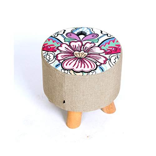 LQJYXD schoenenkruk kruk massief hout mode woonkamer stof sofa kruk bank make-up kruk cartoon creatieve kleine kruk (kleur: drie-been28x28 cm)