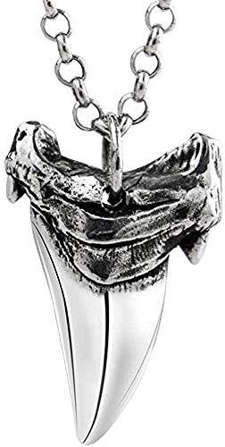 NC110 Collar Colgante Hombres y Mujeres Diente Plata 925 Titanio Acero Cadena de clavícula Regalo de la joyería - Venta al por Mayor + Cadena de Grano YUAHJIGE