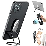 Phone Ring Holder Finger Kickstand, 360° Rotation Cell Phone Ring Holder Stand Metal Phone Back Grip for Magnetic Car Mount Foldable Cell Phone Stand Compatible with Most Smartphones