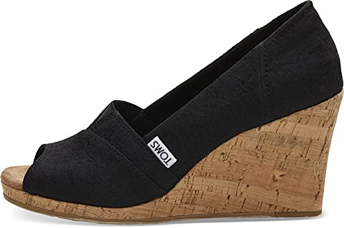 TOMS womens Classic Espadrille Wedge Sandal, Black Scattered Woven, 7.5 US