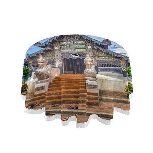 FULUHUAPIN Temple Chiang Mai Mantel redondo para exteriores, resistente a las arrugas y al calor, mantel de encaje impreso para patio trasero, mesa circular de barbacoa picnic 20304041