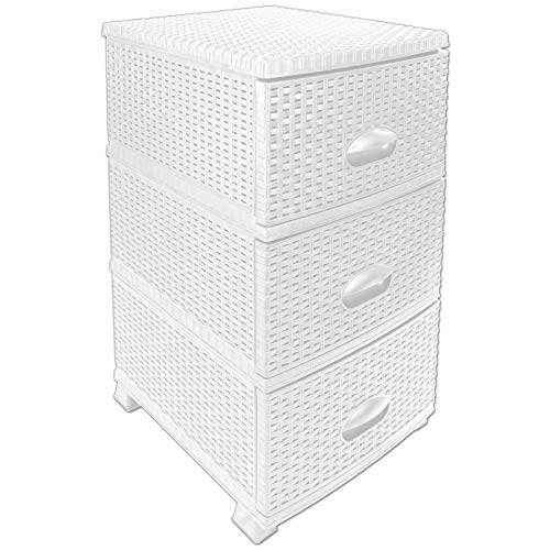 TW24 Rattan Kommode 3 Schubladen mit Farbwahl Schubladenschrank Aufbewahrungsregal Schubladenregal Kunststoff Rattanregal (Weiß)
