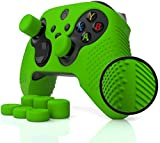Studded Grip Skin for Xbox Series X/S Controller (NOT for Older Xbox One or Elite 1/2) by Foamy Lizard - SeriesPro   Sweat Free Silicone w/Flat Top Anti-Slip Studs + 8 Aceshot Thumb Grips (Green)