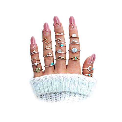 FUTIMELY Boho Retro Stackable Rings Sets for Teen Girls Women,Peak Sea Wave Compass Turquoise Rhinestone Knuckle Joint Finger Kunckle Nail Ring Sets