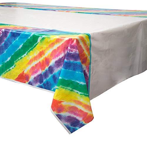 Unique Party Supplies Kunststoff-Tischdecke mit Regenbogenfarben, 2,13m x1,37m