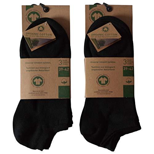 Lieblingsstrumpf24 6 Paar Füsslinge Sneaker Socken Bio 98% Baumwolle Organic Cotton ohne Naht (39-42, Schwarz)