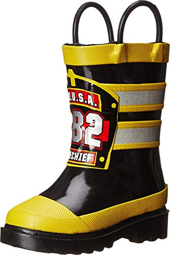 Western Chief Boys Waterproof Printed Rain Boot with Easy Pull On Handles, F.D.U.S.A, 7 M US Toddler
