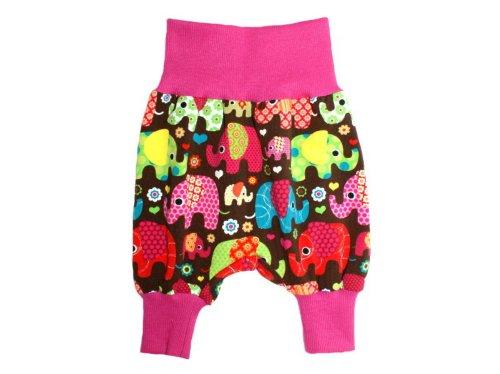 Kleine Könige Pumphose Baby Mädchen Hose · Modell Pumphose Elefantenparty Pink · Ökotex 100 Zertifiziert · Größen 62/68