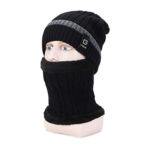 MIBQM Unisexo Beanie Sombrero de Punto para Hombre de otoño e Invierno de Dos Piezas Sombrero de Lana a Prueba de Viento al Aire Libre Babero cálido-Negro