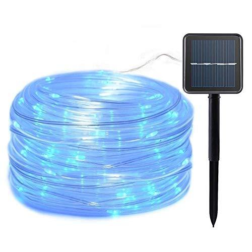 Volar 12m 100 LED Garland secuencia solar del tubo de la cuerda de las luces de iluminación de jardín de Navidad lámpara de césped decoración de la energía solar luces (Emisión de color: Cool White Li