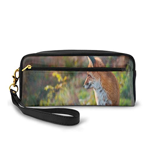 Pencil Case Pen Bag Pouch Stationary,Young Red Fox Listening to Something in Woodland Forest Wildlife Predator,Small Makeup Bag Coin Purse