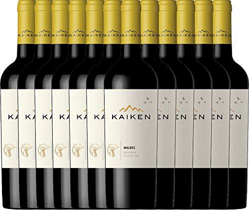 VINELLO 12er Weinpaket Rotwein - Malbec 2019 - Kaiken mit Weinausgießer | trockener Rotwein | argentinischer Rotwein aus Mendoza | 12 x 0,75 Liter