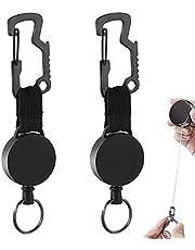 Retractable Card Holder Id Clip Heavy Duty Badge Holder Reel Heavy Duty Retractable Key Chain Carabiner Id Card Badge Clips Intrekbare Id-clip Voor Kaarthouder Intrekbare Sleutelhanger 2 Stukken