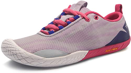 TSLA Women's Trail Running Shoes, Lightweight Athletic Zero Drop Barefoot Shoes, Non Slip Outdoor Walking Minimalist Shoes, Barefoot(bk62) - Pink & Light Grey, 8