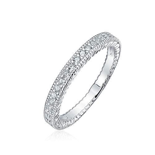Bling Jewelry Pave AAA CZ Zirkonia Schmal Jahrestag Ehering Ringe Für Damen Geätzt Milgrain 925 Sterling Silber