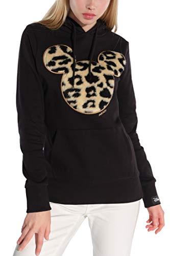 Course Damen Hoodie Original Mickey Mouse Flock Fake Fur Animal Print Leo Disney, Schwarz, XS