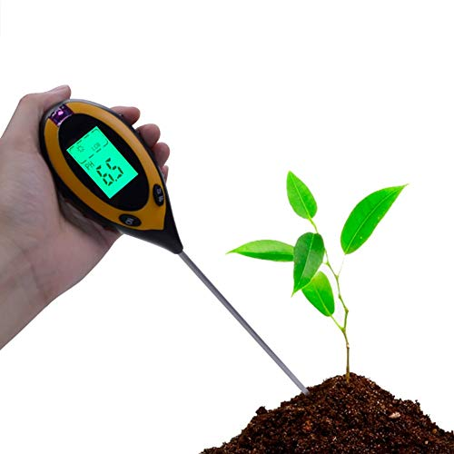 土壌テスター A-leaf デジタル土壌酸度計4-in-1土壌酸度/照度/水分含有量/温度測定 PHテスター 土壌測定器 多機能 農業 園芸用品 家庭菜園対応 簡易型 屋内/屋外使用可能PHメーター (四合一)