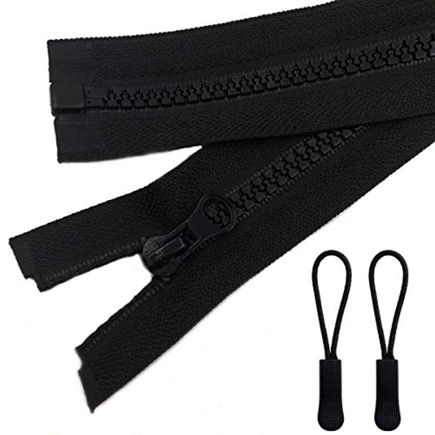 2pcs 24inch Separating Bottom Zipper #5 Black Plastic Jacket Zippers with Zipper Pulls for Coats, Bags, Jackets, and Other Sewing Crafts (24 inch)