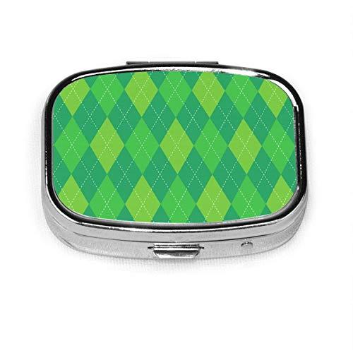 Argyle Plaid Tradicional Diamante Golf Caja de pastillas cuadrada de moda personalizada Soporte para tableta Monedero de bolsillo Organizador Caja de decoración