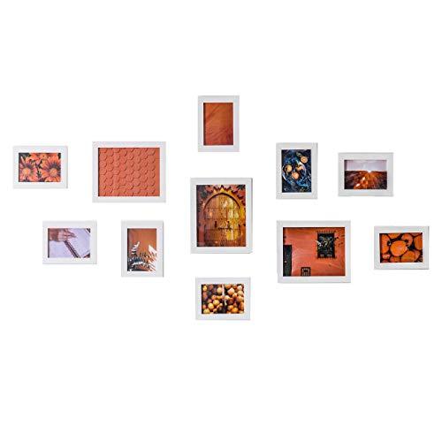 Muzilife Bilderrahmen Collagen 11er Modern Bilderwand Weiß Home Deko 8pcs 13x18cm + 3pcs 20x25cm (Weiß)