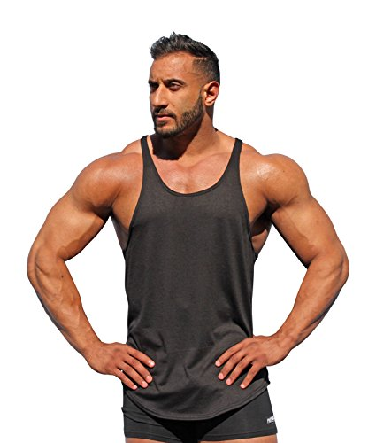 Physique Bodyware Men's Blank Y Back Stringer Tank Top. Made in USA. (Medium, Black)