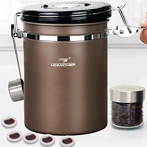 HOMICHEF 22 oz BROWN Stainless Steel Coffee Ground Storage Container Airtight with Scoop and 1-Way CO2 Valve - Large Ground Coffee Storage Container - Coffee Bean Canister Stainless Steel