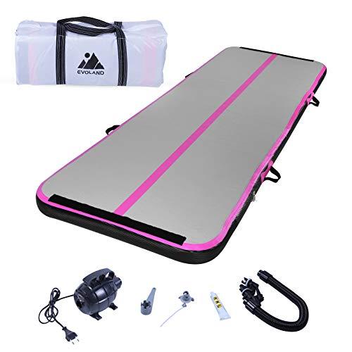 EVOLAND Airtrack Gymnastikmatte, 10 cm dick, Trainingsmatte, 3 m, aufblasbare Gymnastikmatte mit elektrischer Pumpe für Gymnastik, Yoga, Taekwondo, Bodenturnen, Schwimmen