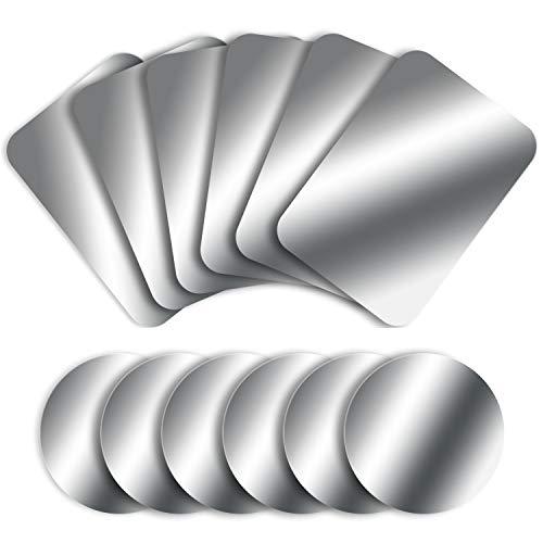 MOSUO 12 Stück Metallplatte Metallplättchen Selbstklebend Set (6 Runde + 6 Rechteck) mit 3M Kleber für Magnet kfz Handyhalter fürs Auto Sehr Dünn Metallplatten für Handy und Tablet, Silber