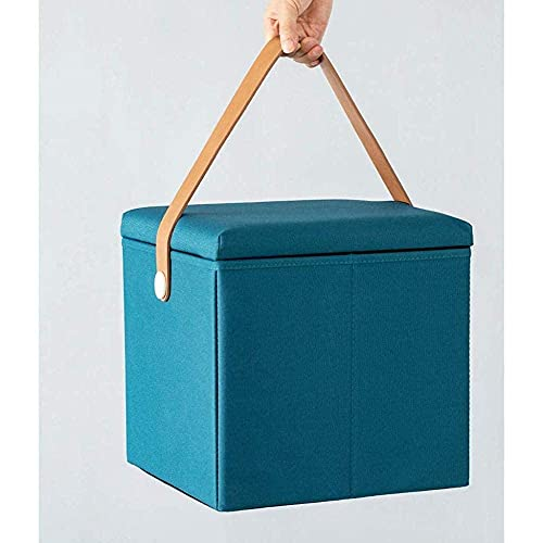 YQG Storage Stool, Foot Stool Folding Storage with Lid Square Ottoman Box Change Shoe Stool Bench Upholstered Footrest Linen Fabric Seat,Blue