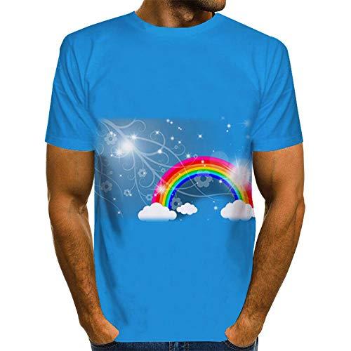 Wijider Chemise Manche Courte Homme,Unisex Shirt - Men's Summer 3D Rainbow Printed Short Sleeve Summer Breathable Tee Shirt-XXXXXL