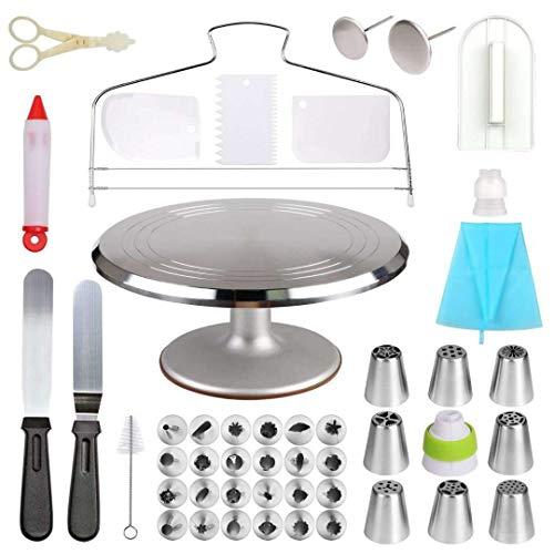 48-delige taartdecoratieset Aluminium roterende draaitafel, koppeling, glazuur, spuitzakken, icing spatel, gebakgereedschap